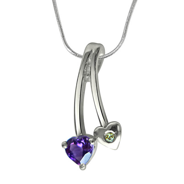 "Love Blooms Here Real Diamond, Purple Amethyst & Sterling Silver Pendants with 18"" Chain"