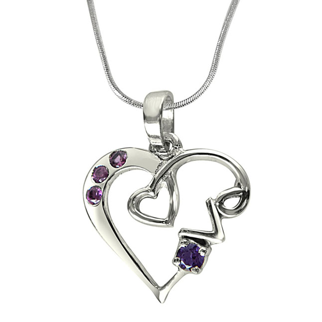 Loads of Love Purple Amethyst, Pink Rhodolite & Sterling Silver Pendant with 18 IN Chain