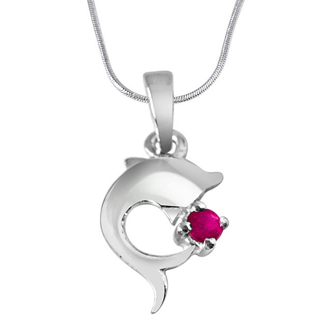 "Dream Weaver Real Red Ruby & Sterling Silver Pendants with 18"" Chain"