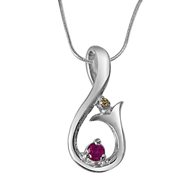 "Magic Carpet Ride Real Diamond, Ruby & Sterling Silver Pendants with 18"" Chain"
