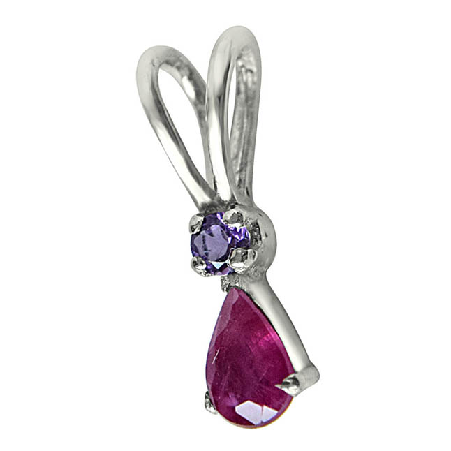 "Fireside Fun Red Ruby, Purple Amethyst & Sterling Silver Pendants with 18"" Chain"