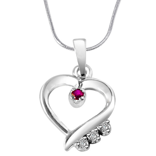 "Angels Watch Over You… Real Diamond & Red Ruby Set in Sterling Silver Pendants with 18"" Chain"
