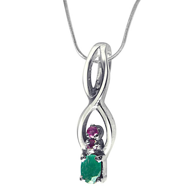 "Back to Nature Red Ruby, Green Emerald & Sterling Silver Pendants with 18"" Chain"