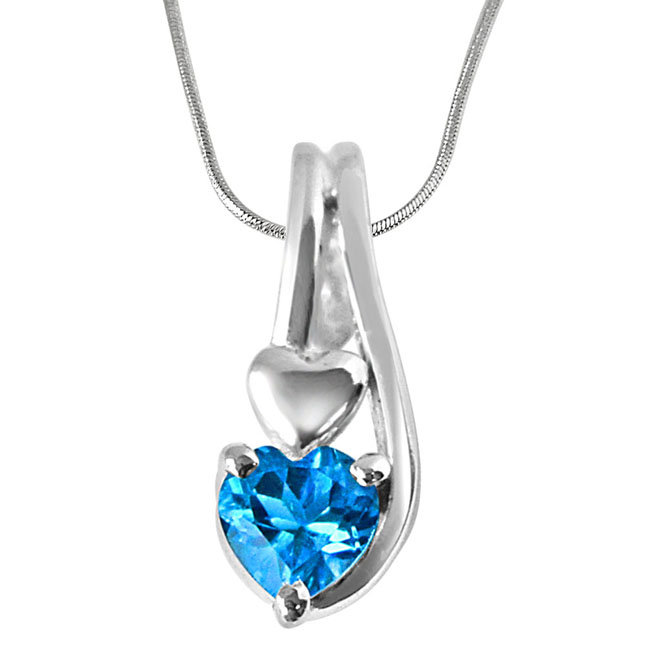 "Ocean Wonders Heart Shaped Blue Topaz Set in Sterling Silver Pendants with 18"" Chain"