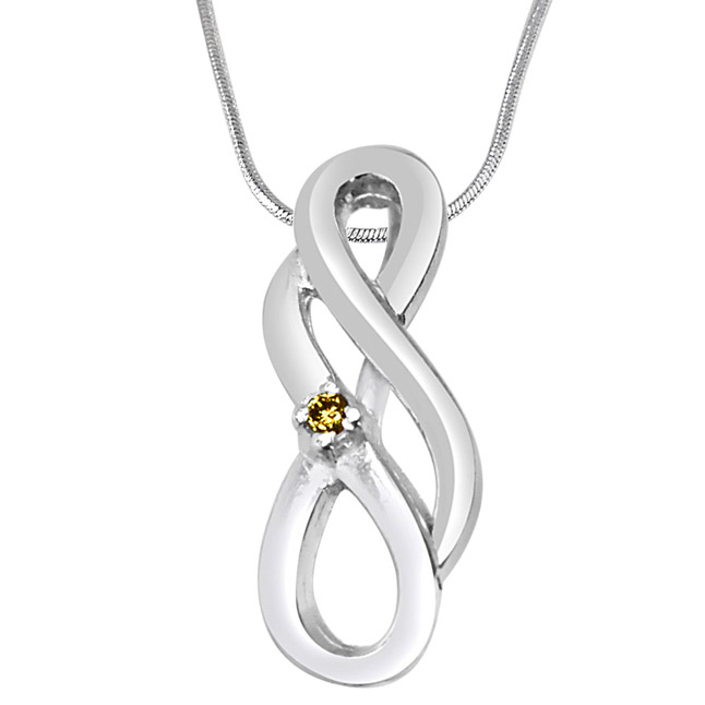 Double Bubble Real Diamond & Sterling Silver Pendant with 18 IN Chain
