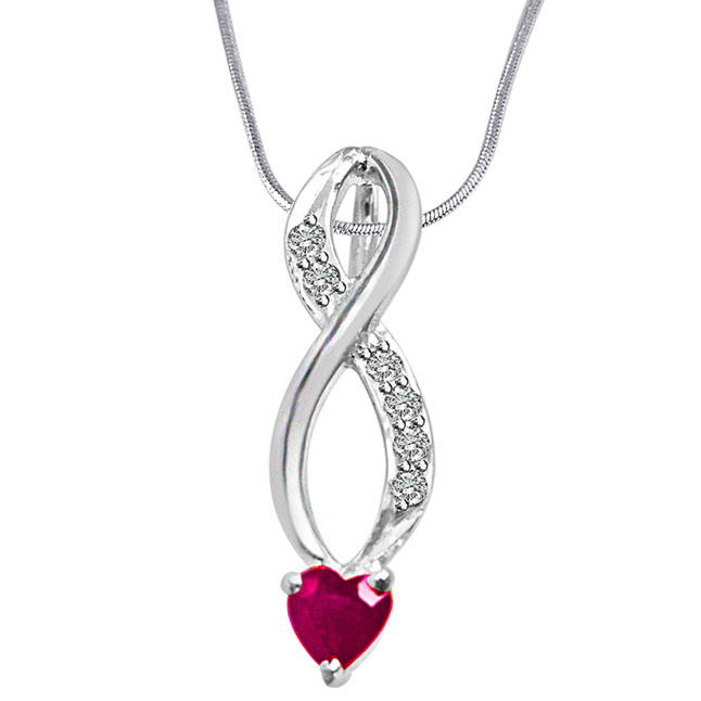 "Building of Memories Real Diamond, Red Ruby & Sterling Silver Pendants with 18"" Chain"