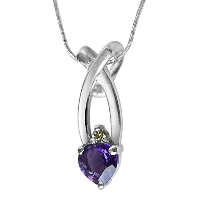 "Fashion Frenzy Real Diamond, Purple Amethyst & Sterling Silver Pendants with 18"" Chain"