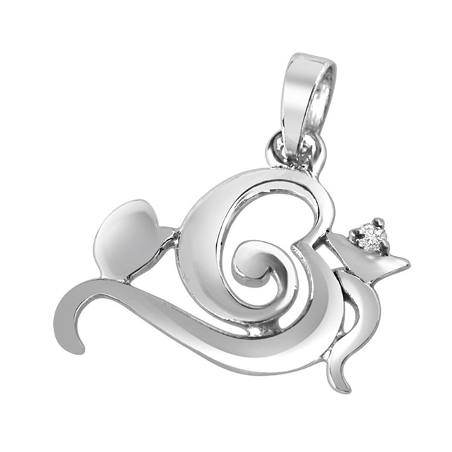 Omkara Real Diamond & Sterling Silver Pendant with 18 IN Chain