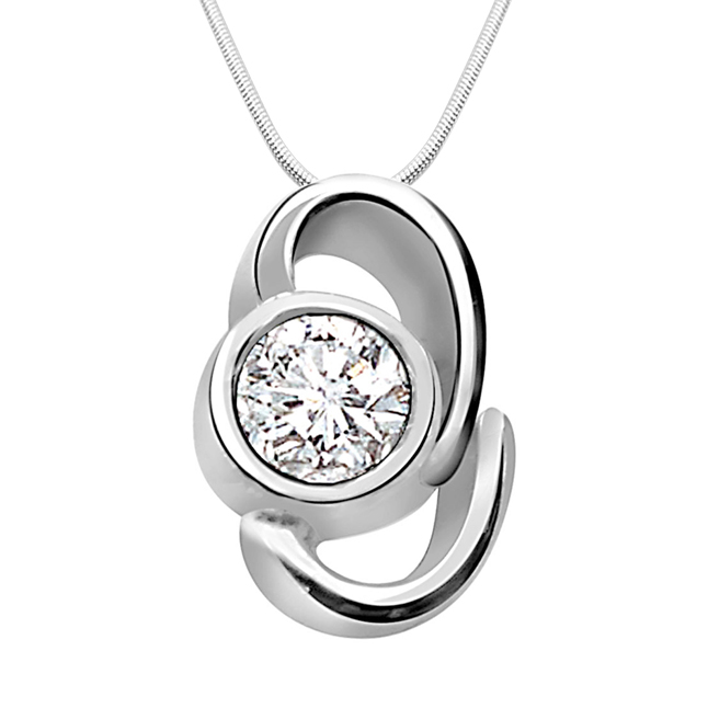 "Sparkling Delight -Real Diamond & Sterling Silver Pendants with 18"" Chain"