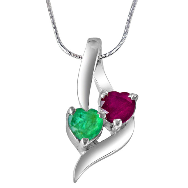 "Time To Remember Green Emerald, Red Ruby & Sterling Silver Pendants with 18"" Chain"