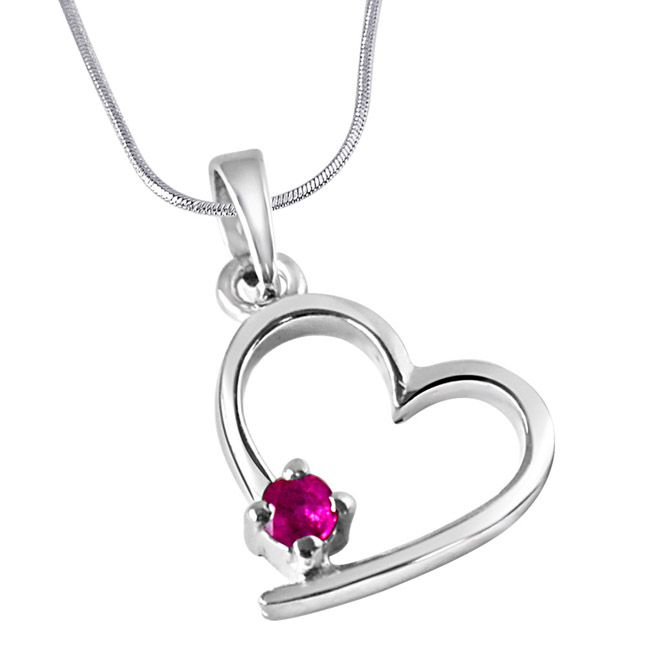 "Believe In Miracles Red Ruby & Sterling Silver Pendants with 18"" Chain"