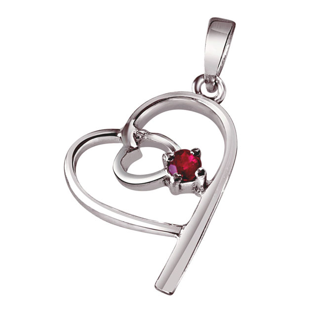 Bits of Yesterday Red Ruby & Sterling Silver Pendant with 18 IN Chain