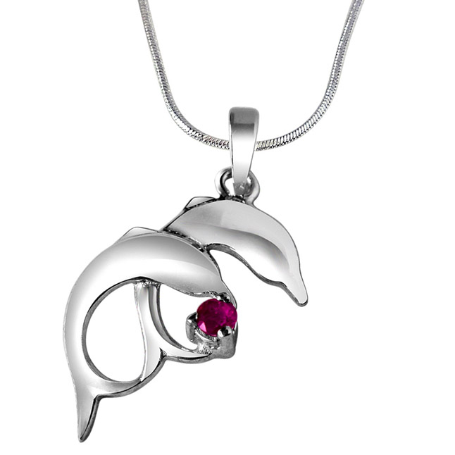 "Whistling Dolphins Red Ruby & Sterling Silver Pendants with 18"" Chain"