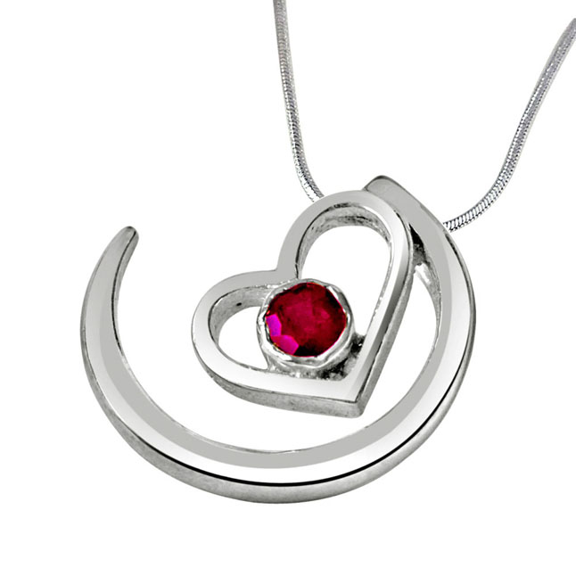 "Priceless Moments Red Ruby & Sterling Silver Pendants with 18"" Chain"