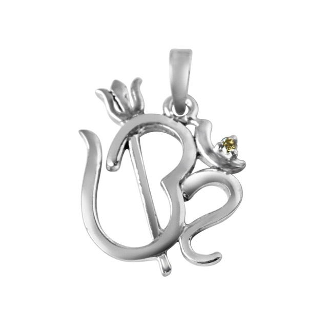 "Om with Trishul Real Diamond & Sterling Silver Pendants with 18"" Chain -Religious"