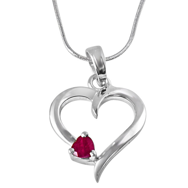 "Another World Red Ruby & Sterling Silver Pendants with 18"" Chain"