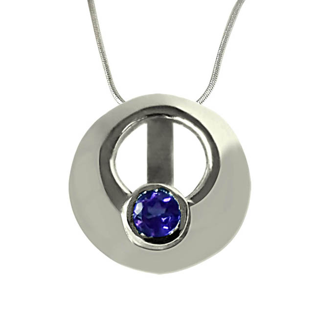 Round Shaped  Amethyst Pendant set in Sterling Silver with 18 IN Chain