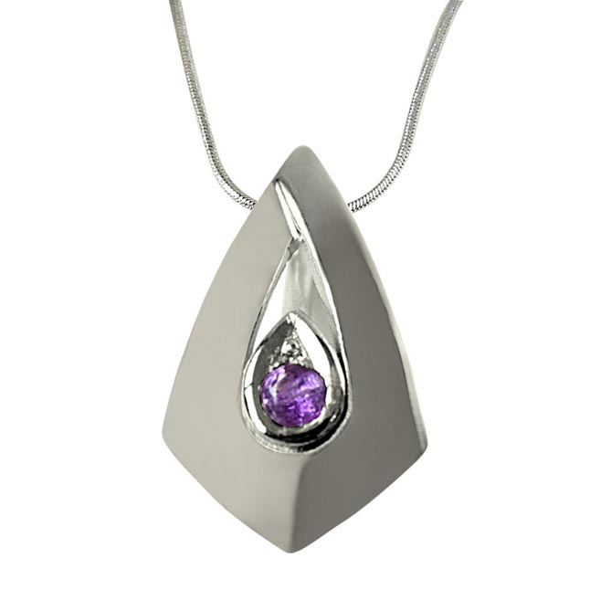"Amethyst Pendants Set in Sterling Silver with 18"" Chain"