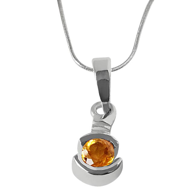 "Round Shaped Yellow Topaz & 925 Sterling Silver Pendants with 18"" Chain"
