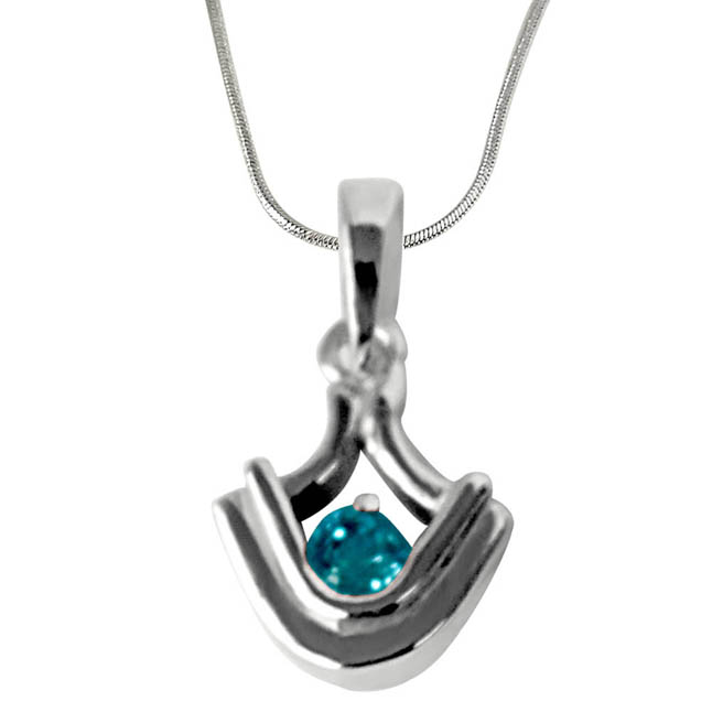 "Blue Topaz set in Sterling Silver Pendants with 18"" Chain"