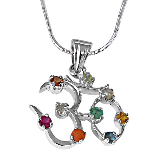 3.00cts Navratna stone OM  Astrological Pendant in 925 Sterling Silver with 18 IN Chain