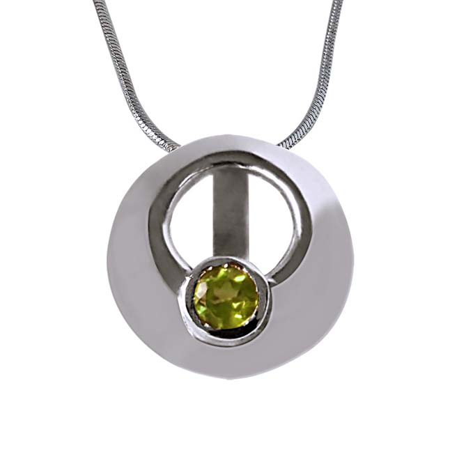 "Sparkling  Circle -Green Peridot 925 Sterling Silver Pendants with 18"" Chain"