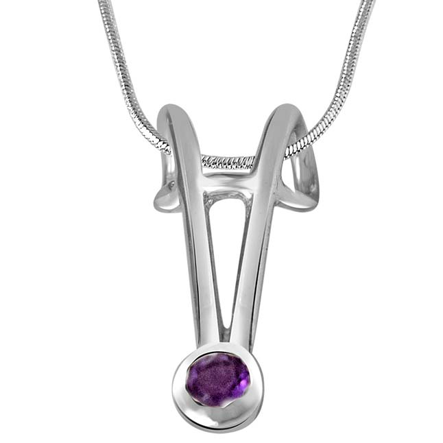 Purple Amethyst & Sterling Silver Pendant with 18 IN Chain