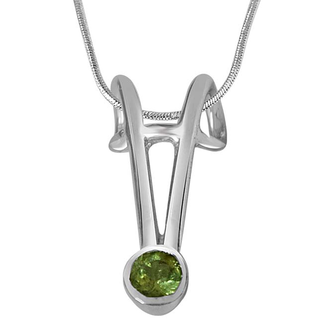 Peridot & Sterling Silver Pendants with 18IN Chain