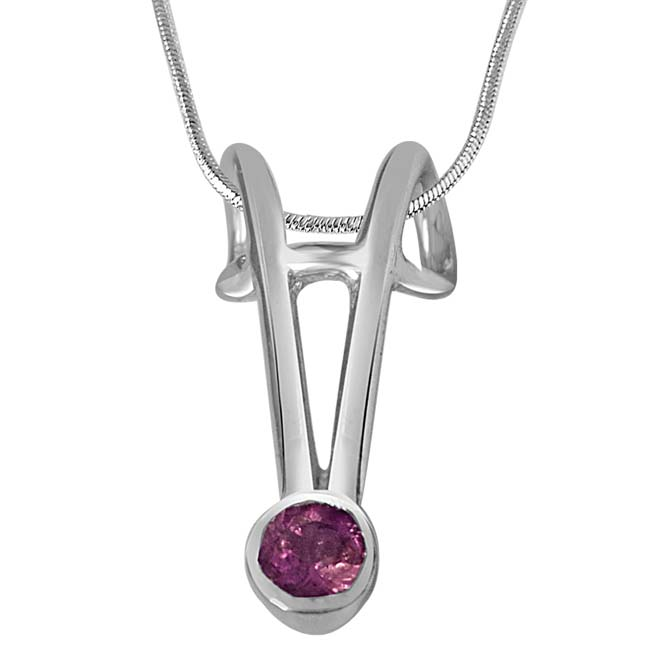Dark Pink Tourmaline & Sterling Silver Pendants with 18IN Chain