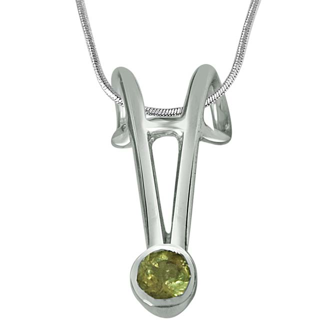 Green Tourmaline & Sterling Silver Pendant with 18 IN Chain