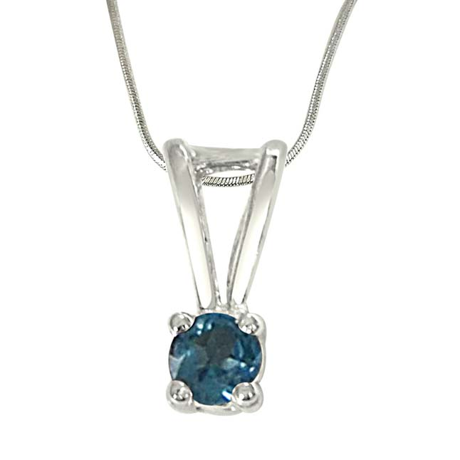 """Beyond the Sea Blue Topaz & Sterling Silver Pendants with 18"""" Chain"""