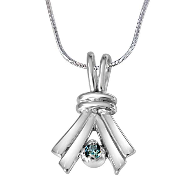 "Make A Promise Trendy Blue Topaz & 925 Sterling Silver Pendants with 18"" Chain"