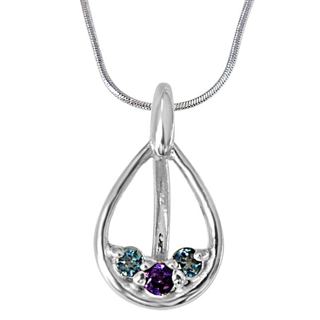 "Garden of Friends Blue Topaz, Purple Amethyst & 925 Sterling Silver Pendants with 18"" Chain"