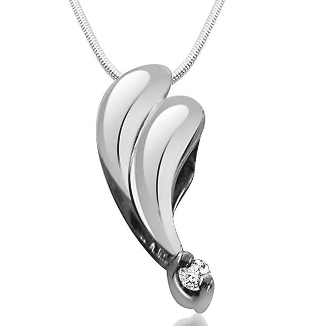 Elegant Silver Pendant - Real Diamond & Sterling Silver Pendant with 18 IN Chain