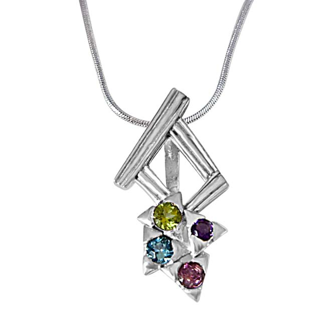 Dancing Feet Amethyst, Topaz, Peridot, Rhodolite & 925 Sterling Silver Pendant with 18 IN Chain