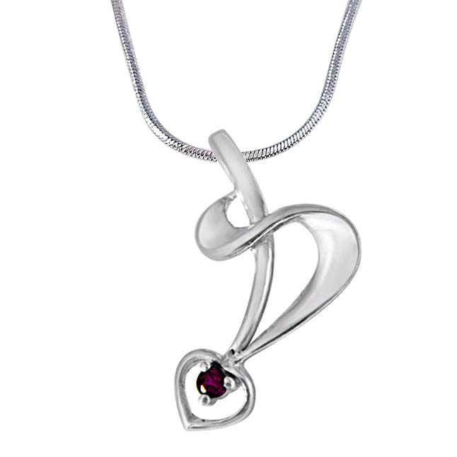 Peaceful Feelings Pink Rhodolite & 925 Sterling Silver Pendant with 18 IN Chain