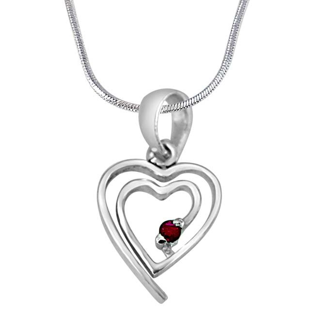"My Heart is in Your Heart Real Red Ruby & 925 Sterling Silver Pendants with 18"" Chain"