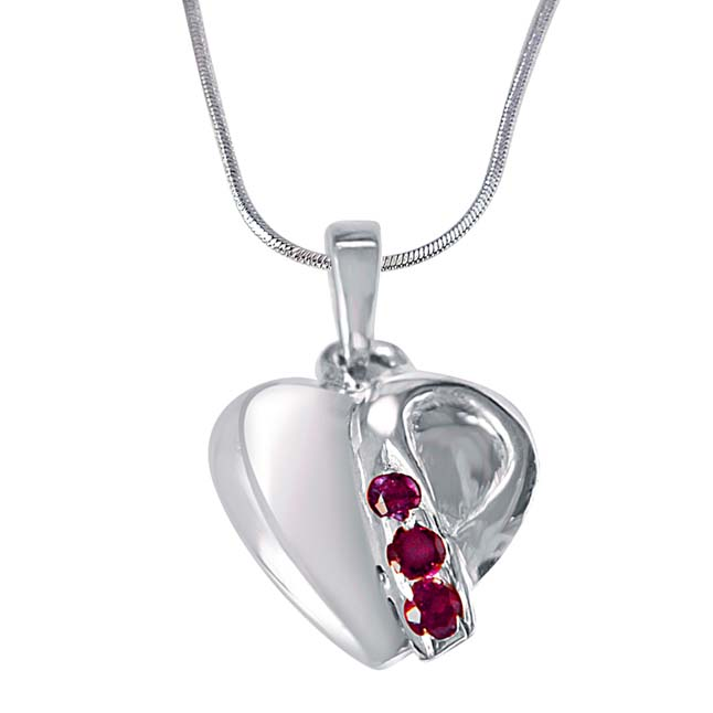 Music of the Heart Pink Rhodolite & 925 Sterling Silver Pendant with Silver Finished 18 IN Chain