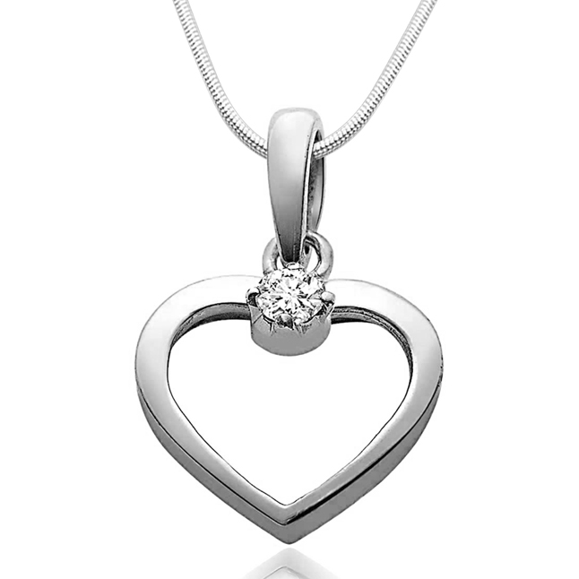 "Love Cage -Real Diamond & Sterling Silver Pendants with 18"" Chain"