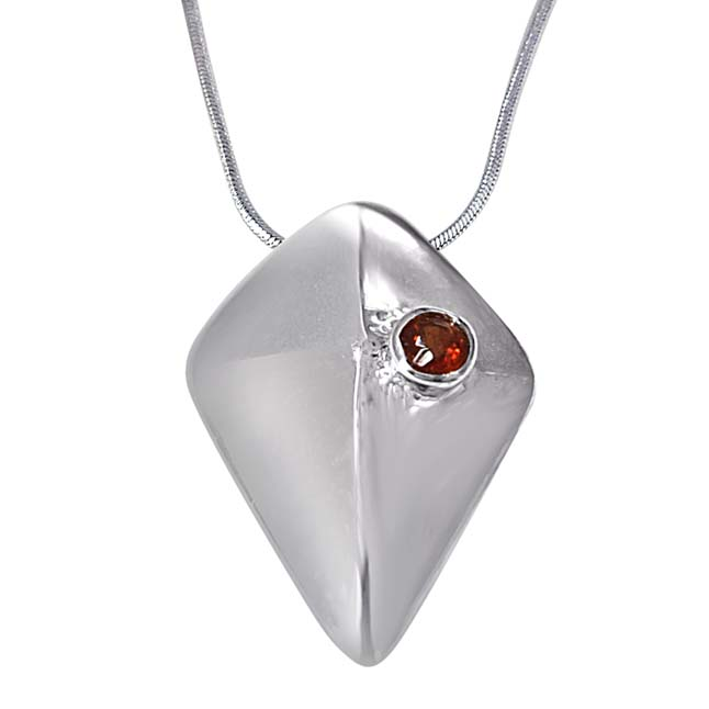 "Great Adventure Red Garnet & 925 Sterling Silver Pendants with 18"" Chain"