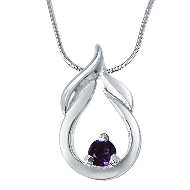"Motel Moments Amethyst & 925 Sterling Silver Pendants with 18"" Chain"