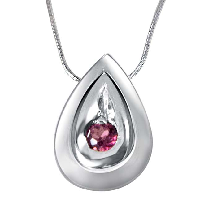 "Building of Special Memories Rhodolite & 925 Sterling Silver Pendants with 18"" Chain"