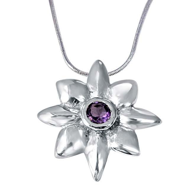 "Crazy Daisies Floral Purple Amethyst & 925 Sterling Silver Pendants with 18"" Chain"