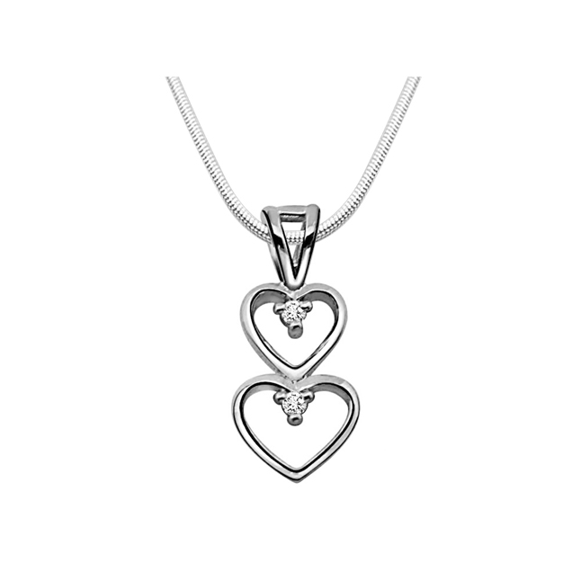 "Magical Heart -Real Diamond & Sterling Silver Pendants with 18"" Chain"