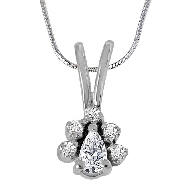 Trendy Pear & Round Shaped White Topaz Gemstone and 925 Sterling Silver Pendant with 18 IN Chain