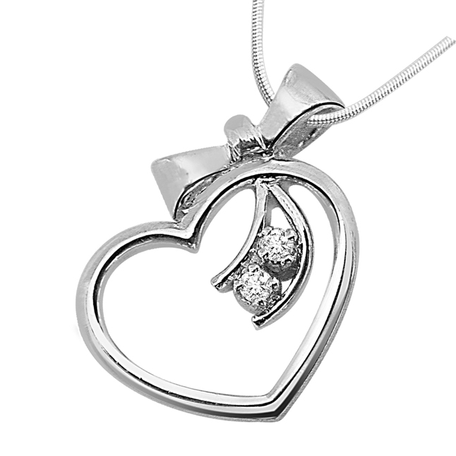 "Gift of a Heart -Real Diamond & Sterling Silver Pendants with 18"" Chain"