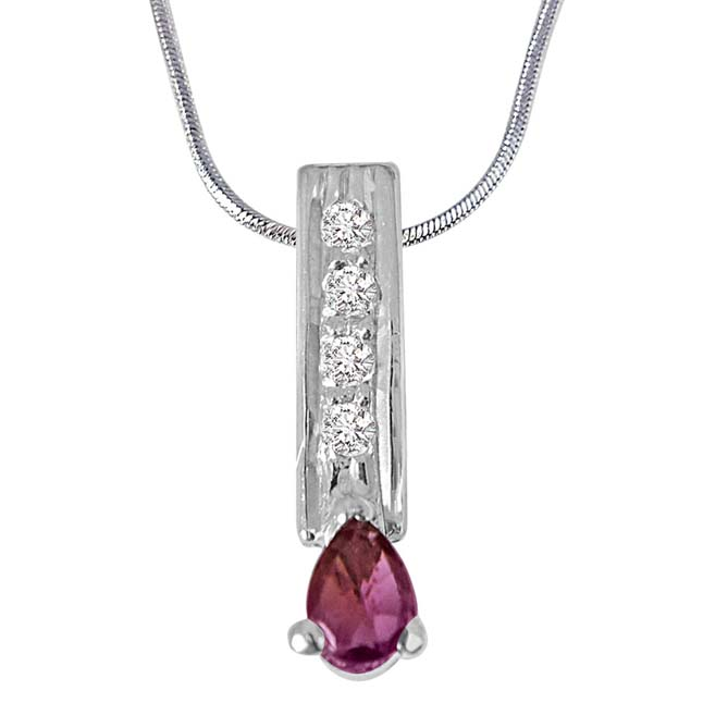 Trendy Pear Shaped Pink Tourmaline, Round White Topaz 925 Sterling Silver Pendants with 18In Chain -Gemstone Pendants