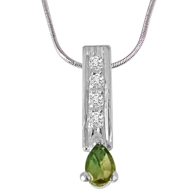 Trendy Pear Shaped Green Tourmaline, Round White Topaz 925 Sterling Silver Pendants with 18IN Chain -Gemstone Pendants