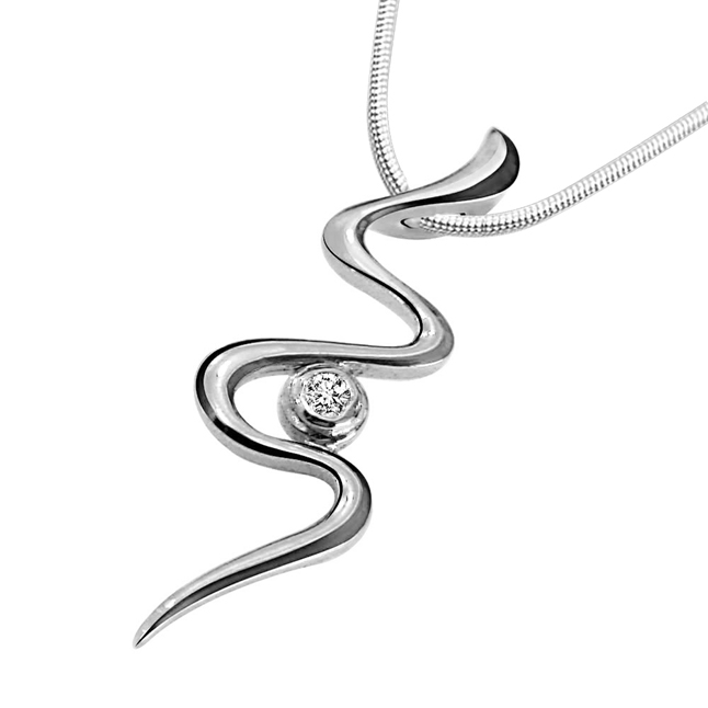 "Twisty Silver -Real Diamond & Sterling Silver Pendants with 18"" Chain"