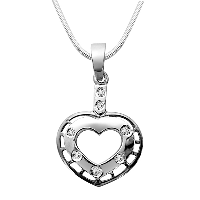 Game of Love - Real Diamond & Sterling Silver Pendant with 18 IN Chain